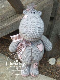 Crochet doll Hippo. PDF pattern.
