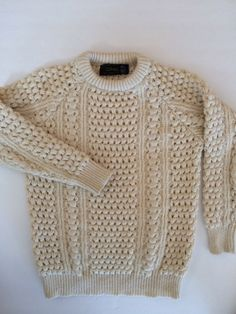 Vintage Irish Fisherman Sweater in Cream Wool by VintageByBeth