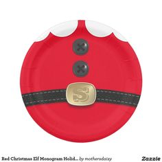 Red Christmas Elf North Pole Breakfast Paper Plate - add your initial to his belt