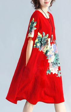 New-red-prints-linen-dress-plus-size-traveling-clothing-Elegant-wild-short-sleeve-o-neck-cotton-dresses3