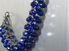Blue Saphire Crystal Beaded Bracelet w/ by prettyprettycrystals, $20.00