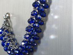 Blue Saphire Crystal Beaded Bracelet w/ by prettyprettycrystals, $20.00