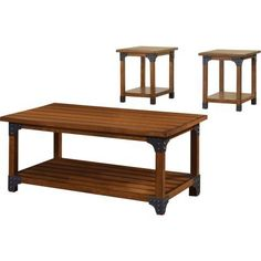 Furniture of America Firkins Country 3-Piece Coffee and End Table Set, Antique Oak
