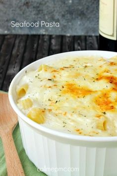Seafood Pasta Bake. Easy for a small dinner party: make it during the day then bake while guests arrive.