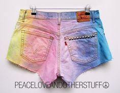 Reworked RAINBOW Tie Dye Studded LEVI High by peaceloveNotherstuff, $62.00