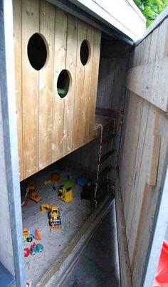 smart family garden #playhouse #sandpit behind wooden door