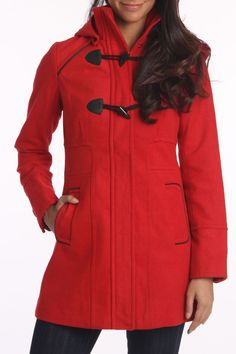 Red Toggle Hooded Coat