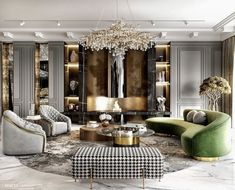Stunning luxury glamour living room decor with green velvet curved sofa and crystal chandelier - chic decor living room Living Room Design Modern, Luxury Living Room, Living Room Designs, Glamour Living Room, Luxury Living, Luxury Living Room Decor, Modern Classic Interior, Room Design, Luxury Interior Design