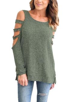Show off just the right amount of skin when you wear this insanely unique olive green cold-shoulder hollow-out blouse.