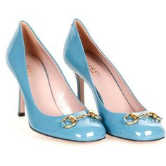 Gucci Blue Patent Leather Jolene Shoes (515 CAD) ❤ liked on Polyvore featuring shoes, pumps, heels, sapatos, scarpe, blue patent leather pumps, blue patent pumps, stiletto pumps, heels stilettos and stiletto heel pumps