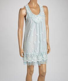 Another great find on #zulily! Light Blue Floral Linen-Blend Sleeveless Dress #zulilyfinds