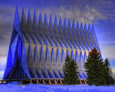 The United States Air Force Academy Cadet Chapel has 17 spires extending from towering tetrahedrons.