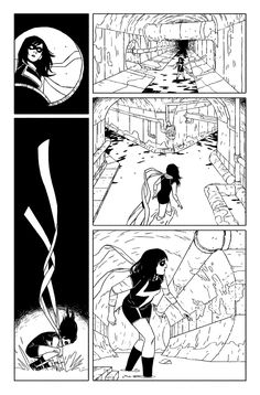 CBR has dropped a preview for my first Ms Marvel issue where you can see these very pages (and more) enhanced by the chromatic stylings of Mr.Ian Herring and the mad verbage of O.G. Williow Wilson. But I thought I'd post the naked inks here 'cause I like 'em.