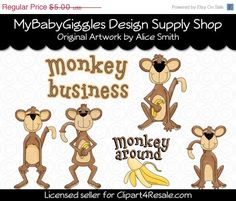 50 OFF SALE Monkey Around Clip Art Digital by mybabygiggles, $2.50