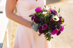 Perfectly compliments a blush-colored wedding dress. Colored Wedding Dress, Blue Wedding Flowers, Hand Tied Bouquet, Elope Wedding, Bridesmaid Dresses, Wedding Dresses, Blush Color, Bridal Bouquets, Compliments