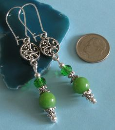 SALE! Green Dyed Marble Crystal Silver Plated Kidney Hook Round Link Earrings Bohemian