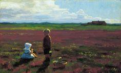 "https://www.facebook.com/skagensmuseum ""Children picking berries on the moor"" ""Børn, der plukker bær på heden"" (1910) By Einar Hein, from Copenhagen, Denmark (1875 - 1931) - oil on canvas; 28.4 x 45.9 cm - © Skagens Museum, Skagens, Denmark http://www.skagensmuseum.dk/"