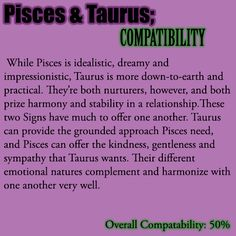 taurus female and pisces male compatibility