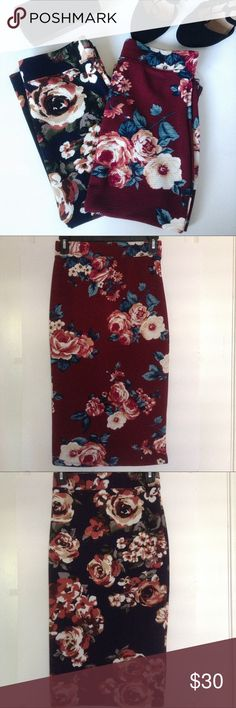 """Navy Blue & Wine Red Floral Pencil Skirt Bundle Absolutely gorgeous skirts, perfect for the summer and can even be worn throughout the fall because of the darker base colors. Selling both skirts together, burgundy/wine red and  navy blue (last pic accurately shows the navy blue color). Material is very soft and stretchy and the top waist has a stretchy elastic band. Length: 27 1/2"""". Width: 13"""". Pretty long skirt so it's technically a midi pencil skirt. Never worn, NWOT. Brand is Iris. Offers…"""