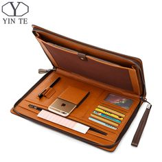 YINTE Fashion Leather Men's File Folder Bag Paper Business Clutch Bag One Zipple Wallet Documents Men's Bag Portfolio Leather Briefcase, Leather Wallet, Leather Carving, Leather Projects, Small Leather Goods, Leather Accessories, Clutch Purse, Tote Handbags, Luggage Bags
