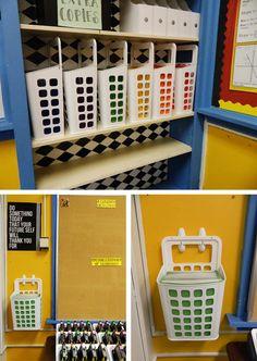 Classroom Organization Folder System using plastic baskets and Command(TM) Hooks- IKEA! Classroom Hacks, Classroom Organisation, Classroom Rules, Classroom Setup, Classroom Design, Future Classroom, School Classroom, Classroom Arrangement, Classroom Management