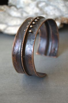 rustic oxidized copper cuff bracelet with by StudioLunaVerde, $68.00