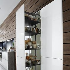 Store dry goods and other kitchen essentials neatly in this pre-fitted, pull-out larder and maximise the storage in any kitchen. Kitchen Views, Kitchen Units, Corner Storage, Kitchen Storage, Downlights Kitchen, Under Sink Drawer, Howdens Kitchens, Damp Proofing, Larder Unit