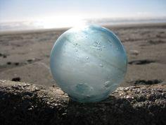 "Japanese Glass Fishing Float - 3"" diameter, Net Marks, Frosting, Alaska Beachcombed, Amber Swirls"