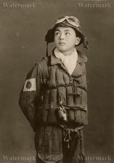 MODERN REPRINT WWII PHOTO: KAMIKAZE PILOT WITH GOOD LUCK DOLL CHARM!!