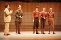 "L-R Bob Bucci with Tim Lewis (Captain Nicholls), Tommy Luther (Joey Head), Stuart Angell (Joey Heart) and Ian Piears (Joey Hind) from ""War Horse"" during Segerstrom Center's Broadway and Curtain Call Preview Event on 8/20/12."