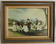 Vintage Painting Reproduction Blind's Man Bluff Framed Copy on Canvas Regency