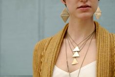 Cascading triangle necklace by seaworthysend on Etsy, $59.00