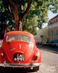Car Photograph, Vintage Style Photograph, Red Car, Film Photograph, Red Bug, Spring Decor, Boys Room Decor, Lust, Scarlet - Drive away