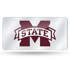 Mississippi State Bulldogs Laser Cut License Plate - Silver Mirror