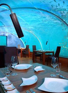 Islas Maldivas- hotel de lujo, restaurante acuático