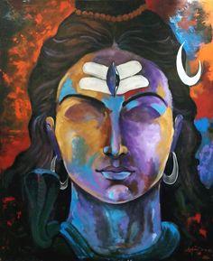 Shiva painting by Arjun Das - Work-toptrendpin. Lord Shiva Painting, Buddha Painting, Krishna Painting, Madhubani Painting, Yoga Painting, Lord Ganesha Paintings, Madhubani Art, Painting Tips, Arte Shiva