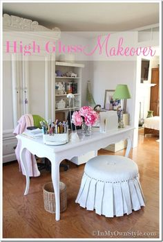 Furniture makeover using high gloss paint. Desk transformation in home office.