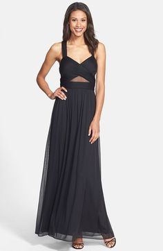 Free shipping and returns on Betsy & Adam X-Back Mesh Inset Gown at Nordstrom.com. Illusion cutouts further the crisscrossed construction of the strappy pleated bodice topping a striking chiffon gown that floats from the banded and shirred waist into swirling A-line skirt.