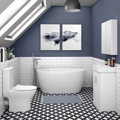 Karli badkamer SHOP the Snowden Small Free Standing Bath Suite at Victorian Plumbing UK 7 Blocks To Compact Bathroom, Loft Bathroom, Upstairs Bathrooms, Bathroom Layout, Modern Bathroom, Bathroom Ideas, Bathroom Plumbing, Master Bathrooms, Family Bathroom