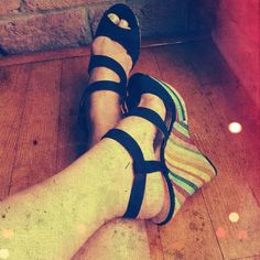 Black + Rainbow Espadrille Wedges The title sort of says it all, huh? Shoes Espadrilles