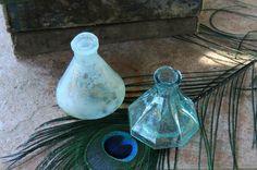 Antique Aqua Blown Glass Ink Well Bottles Set by BakersFarmhouse