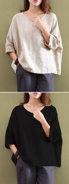 US$ 12.59 Casual Women Mori Pocket O-Neck 3/4 Sleeve Loose Blouse