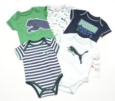 Puma Infant Baby Boys 5 Piece Bodysuit Romper One Piece Outfit Set Green