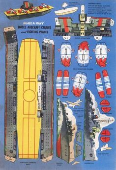 Make a navy --- Fun free papercraft, vintage printable aircraft carrier