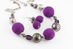 Violet crochet necklace and earrings with metal by YaNikaJewelry, $25.00