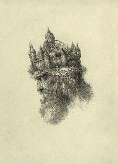 Yaroslav Gerzhedovich: Mountain King, Ink on Paper.