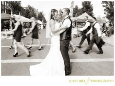 Crosswalk wedding photo- awesome!