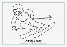 Alpine Skiing Colouring Page. Winter Olympic coloring pages and activities Olympic Idea, Olympic Sports, Olympic Games, Kids Olympics, 2018 Winter Olympics, Sports Coloring Pages, Colouring Pages, Sports Day, Winter Sports