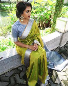 Buy Green Colored Silk Fabric Designer Wear Beautiful Saree With Designer Blouse - Silk Saree Blouse Designs, Saree Blouse Patterns, Blouse Neck Designs, South Indian Blouse Designs, South Indian Wedding Saree, Saree Wedding, South Indian Sarees, South Indian Weddings, Bridal Lehenga