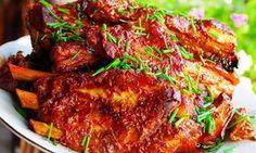 Marinovaná žebírka v medu Modern Food, Ribs On Grill, Tandoori Chicken, Grilling, Pork, Food And Drink, Vegetarian, Treats, Baking